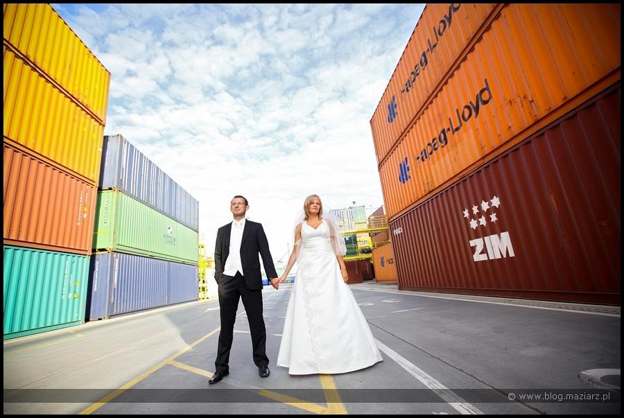 plener ślubny terminal kontenerowy zdjęcia